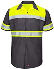 Red Kap Men's Hi-Vis SS Colorblock Ripstop Work Shirt - Type O, Class 1, Fluorescent Yellow/Charcoal, X-Large
