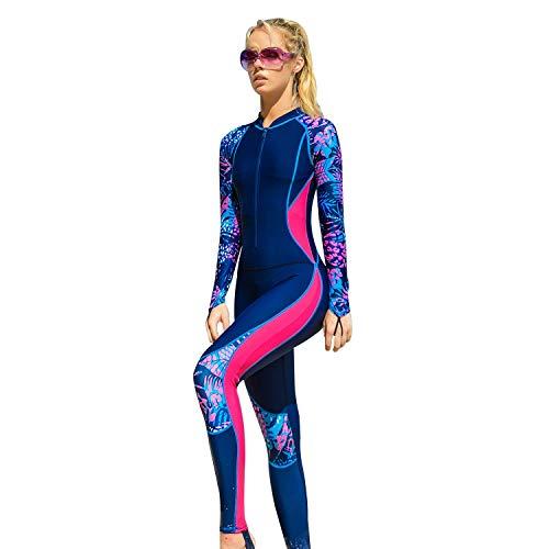 Tauchanzug Shorty Wetsuit One Piece Dive Skins UV-Schutz Rash Guard for Schnorcheln Frauen One Piece Langarm Quallen Schwimmen Schnorcheln Surfen Anzug (Color : Rose red, Size : XXL)