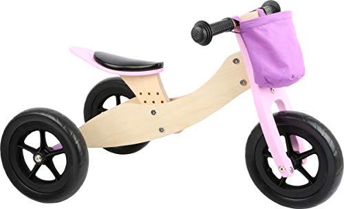 Small foot 11611 Laufrad-Trike Maxi 2 in 1 Rosa aus Holz, Drei- und Laufrad, verstellbarer Sitz und gummierte Reifen
