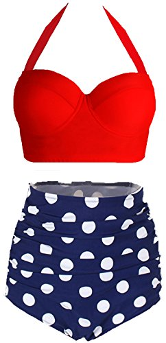 Amourri Womens Retro Vintage Polka Underwire High Waisted Swimsuit Bathing Suits Bikini,Red+blue,US 12-14=Tag Size 3XL