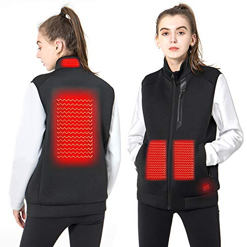 DEKINMAX Women's Heated Vest Lightweight Slim Fit Insulated USB Electric Heating Winter Vest (Power Bank not Included) (L)