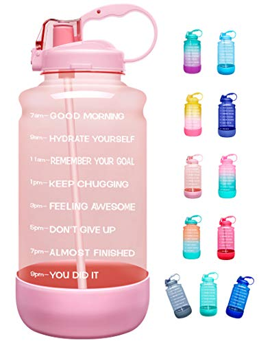 Elvira Half Gallon/64oz Motivational Time Marker Water Bottle with Straw & Protective Silicone Boot, BPA Free Anti-slip Leakproof for Fitness, Gym and Outdoor Sports-64oz-Light Pink