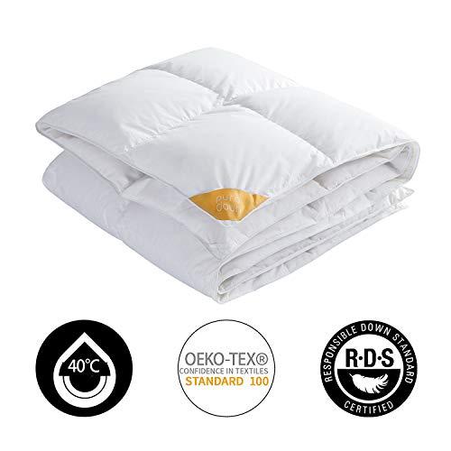 puredown® Deluxe Bettdecke, 135x200cm Daunendecke, 90% Daunen, Gänseflaum, 4 Jahreszeiten, Öko-Tex, leicht