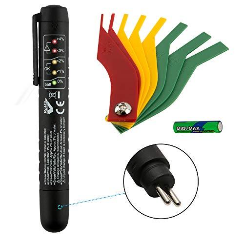 JTENG Bremsflüssigkeitstester Bremsflüssigkeitsprüfer DOT 3/4/5 mit 5 LED und Bremsbelag (schwarz)