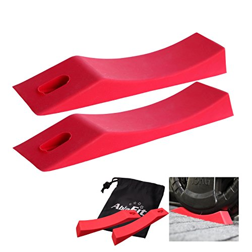 AbraFit Kreuzhebe-Langhantel, alternativer Keil, Silikon-Material, rutschfest, zum Patent angemeldetes Design, sicheres Be- und Entladen von Langhantel und Platten (rot, 2 Stück)
