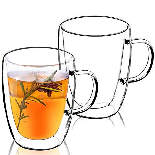 KADAX Taza de cristal de doble pared con asa, 270 ml, para zumo, té, café, bebida, agua, té helado, capuchino, cristal universal(2)