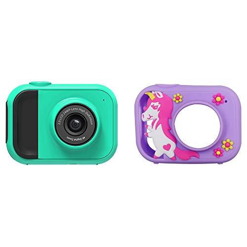 WQYY Cámara Digital de niños con Pantalla HD de IPS de 2 Pulgadas, admite Juegos pequeños y Tarjeta SD de 32G Gratis,Green-Protective Shell 2