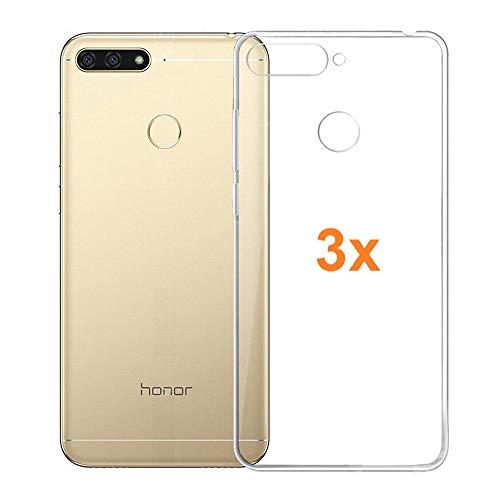 REY Pack 3X Transparente Silikonhülle TPU für Huawei Honor 7A y Huawei Y6 Prime (2018), Handyhülle Premium Kratzfest TPU Durchsichtige Schutzhülle, Superdünne 0,33 mm