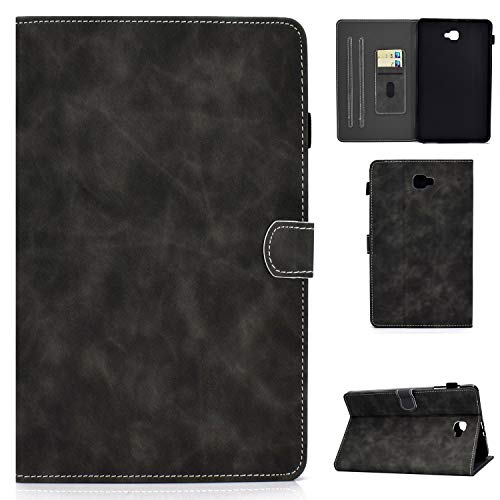Case for Samsung Galaxy Tab A 10.1 2016 Premium PU Leather Wallet Stand Cover Shell with Auto Wake/Sleep Card Pocket and Pencil Holder for Galaxy Tab A 10.1 SM-T580 / SM-T585 Tablet - Gray