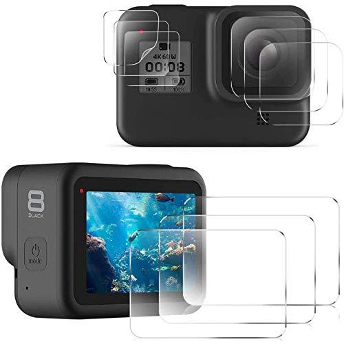 CAVN Kompatibel mit GoPro Hero 8 Black Displayschutzfolie [3-Set/9 Pcs], HD Displayschutz + Objektiv Schutz + Kleinem Display Schutz, 9H gehärtetem Hartglas Panzerglas Schutzfolie