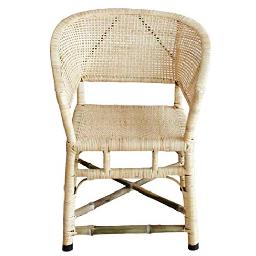 RAPLANC Wicker chair single back chair, retro vintage single bamboo rattan chair nostalgic casual home woven chair wicker chair