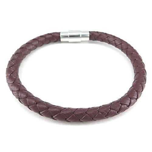 KONOV Jewellery Herren Damen Leder Armband, 6mm geflochten Armreif, Magnetverschluss, braun (mit Geschenk Tüte)