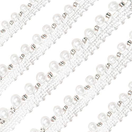 OLYCRAFT 10 iarda in Rilievo di Perline Nastro di Pizzo Ricamato in Rilievo di Pizzo Finiture, Nastro con Strass in Resina Stile Vintage di Larghezza 8.5 mm per Ricamo di Abiti da Parte