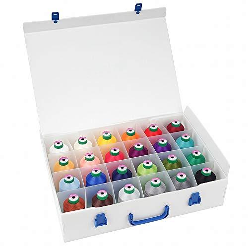 Amann Isacord Koffer gefüllt mit 24 x 5000 m + Farbkarte, universelles Maschinenstickgarn für eine Vielzahl von Einsatzgebieten