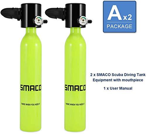SMACO Flasche Tauchausrüstung, tragbarer 0,5-l-Mini-Sauerstofftank für Tauchgänge (S300-A*2)