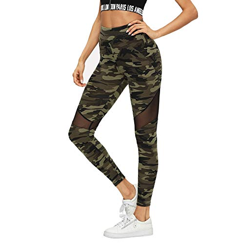 SOLY HUX Damen Sport Camouflage Leggings Mesh Camo Leggins Bunt Sporthose Capris Jogger Fitnesshose Sweathose Farbe #1 XL