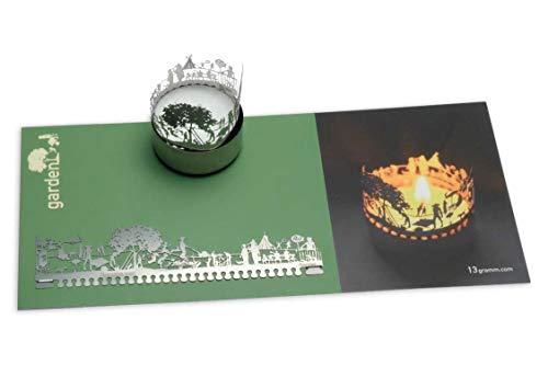 13gramm Garten Windlicht Schattenspiel Geschenk, 3D Edelstahl Aufsatz für Kerze inkl. Karte