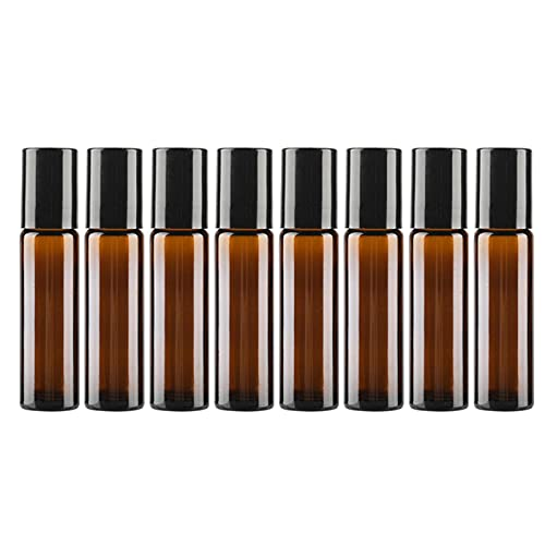 8pcs Botella De Muestra Vacía De Perfume Exquisito Tawny Glass Mini Botellas De Spray Roll-on Essential Oil Perfume Sample Toner Kit De Botellas De Viaje De Agua Hidratante (Tawny 10ml)