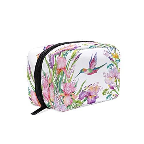 BOLOL - Bolsa de maquillaje para colibrí para cosméticos, bolsa de aseo grande, bolsa de viaje para mujeres y niñas, acuarela, flores de iris, organizador portátil, bolsa de almacenamiento