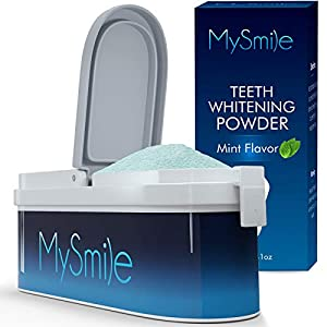 MySmile Tooth Powder for Teeth Whitening, No-Mess Teeth Whitener, Alternative Toothpaste Whitening Effective Remover Stains from Coffee, Smoking, Soda, Wine Mint Flavor -40g
