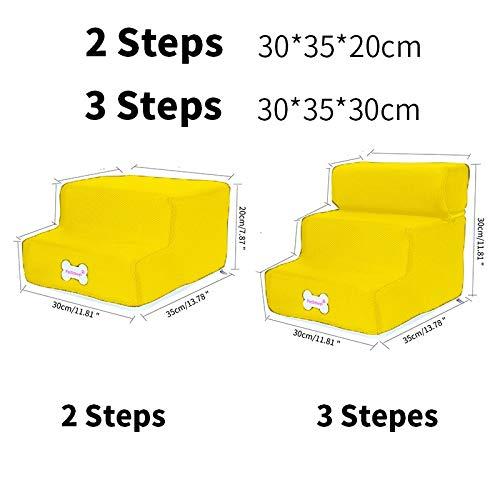 Stephanie Kennels & Pens Hot Dog Stairs Pet Stairs voor kleine honden en katten, antislip, afneembaar, 1 stuk, Yellow - 3 Steps