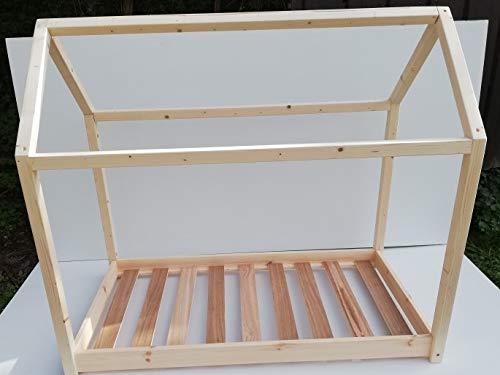 Cama infantil de 140 x 70 cm, en madera de pino natural, según metodo montessori, incluye laminas de somier y estructura robusta de 45 x 45 mm
