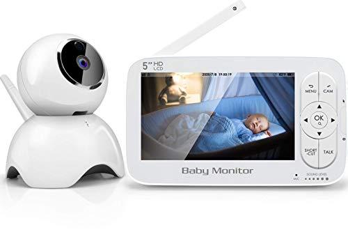 SYOSIN Babyphone mit Kamera, 5-Zoll LCD Babyphone, Video Baby Monitor, 1280 x 720P HD Display, Gegensprechfunktion, Schlaf-Modus, Nachtsicht, Temperatur,Energiesparmodus, Schlaflied und & 2 x Zoom
