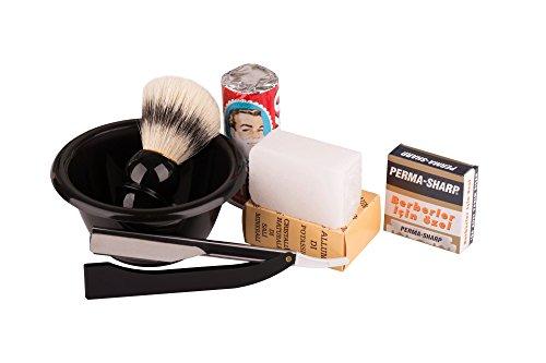 Fonex Rasurset für die klassische türkische Rasur - Rasierpinsel, Rasierseife, Blutstiller, Rasierschale, Rasiermesser mit Schiebefunktion & Klingen (Perma-Shape 100 Stück) | Klassisches Herren Rasierset mit Schale für die Nassrasur als Geschenkset