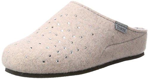 TOFEE Damen Hausschuhe Pantoffeln Naturwollfilz (Glitzersteine) rosa, Größe:42, Farbe:Rosa