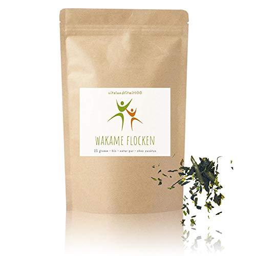 Bio Wakame Flocken - 25 g - mineralstoffhaltige Braunalge - getrocknete Algen-Flocken, Algenflakes, Meeresgewürz - von der Atlantikküste Spaniens - in Rohkost-Qualität - glutenfrei - OHNE Zusatzstoffe