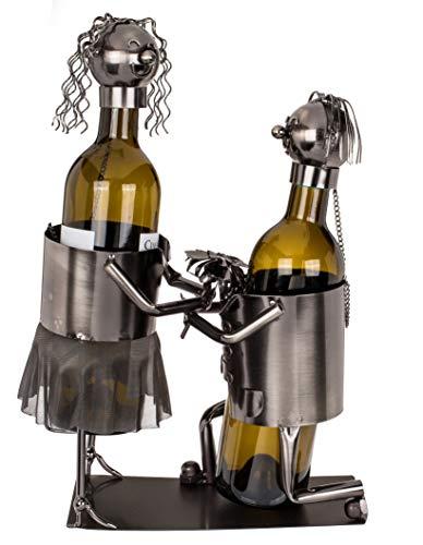 MC Trend Weinflaschenhalter Flaschenhalter Getränke Halter Wein Liebespaar Verliebte Hochzeit Geschenk-Idee Liebe Metall Deko-Figur Love (Liebespaar V)