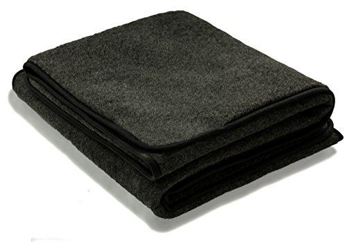 Zaloop 100prozent Schurwolle Merino Wolldecke Decke Wohndecke Bettdecke Tagesdecke Wolle (ca. 180 x 200 cm, schwarz)