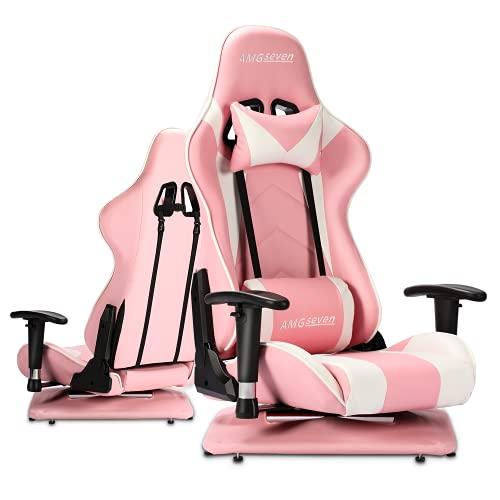 AMGseven ゲーミングチェア 座椅子 ゲーミング座椅子 360°回転座面 175度リクライニング 2D可動肘 ヘッドレ...