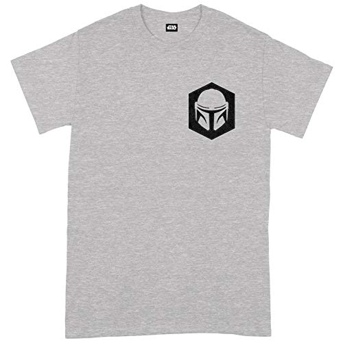 Compatible with Star Wars - The Mandalorian He Goes Pocket Oficial Camiseta para Hombre (Small)