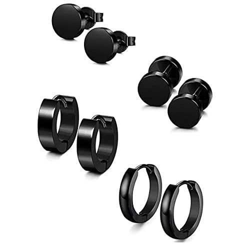 4 paia di orecchini a bottone in acciaio inossidabile Orecchini neri Orecchini a cerchio piccoli Orecchini a bottone con manubri con bilanciere per uomo Donna