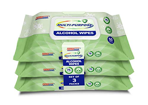 Germisept Multi-Purpose Alcohol Wipes Made With Plant Based 75% Alcohol (3...