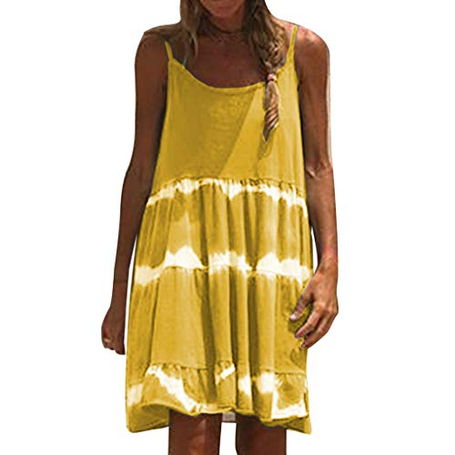 Lowest Prices! Hurrybuy Women Tie Dye Swing Spaghetti Strap Tank Dresses Loose T-Shirt Sundress Summ...