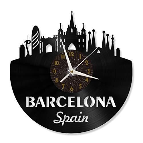 Barcelona 12in Vinilo récord Wall Clock, Reloj de Pared para Cocina Home Living Room Bedroom(c)-Without LED Vinilo Record Wall Clock Nature Decoration 12 Inch Wall Clock Bird Art