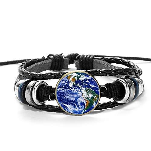 Welt Erde Karte Armband Reisegeschenk Fernweh New York Boston Karte Glas Fotos Leder Armbänder Für Männer Frauen