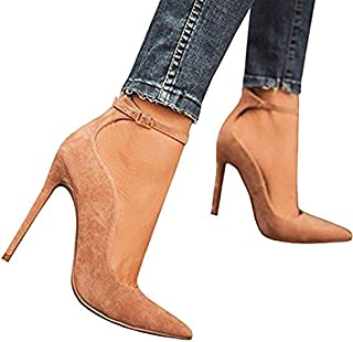 Chellysun Women Ankle Buckle High Heels Pointed Toe Thin Heel Pumps Suede Shoes