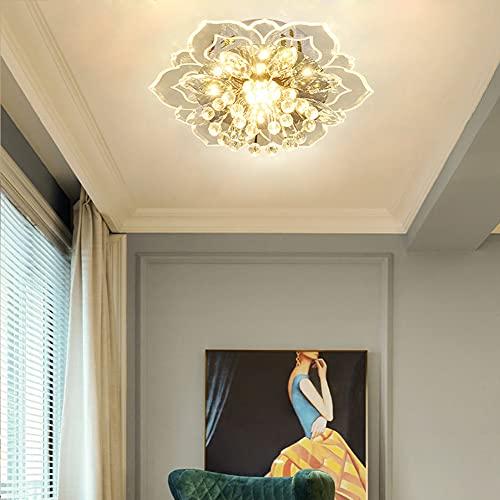 Lámpara LED de techo moderna de cristal, diseño de flores, lámpara de techo cromada para salón, dormitorio, comedor, baño, iluminación interior, pasillo, casa de campo, decoración