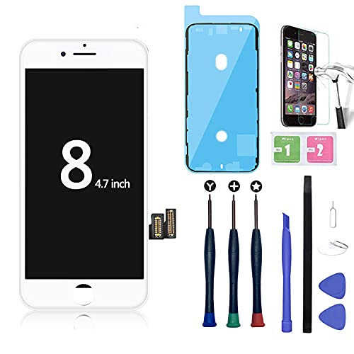 Xlhama New Display LCD Touch Screen Compatibile per iPhone 8 Vetro Schermo Bianca con Kit Smontaggio trasformazione Strumenti Lastra Adesivo Impermeabile Pre Tagliato di Vetro Temperato Adesivoc