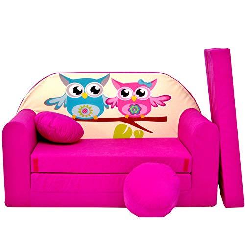 Minisofa Kindersofa Kindercouch Schlafsofa Sofabett Mini Couch mit Kissen und Sitzkissen GR/ÜN TIERE