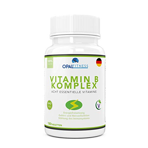 Vitamin B Komplex Tabletten | 180 Tabletten reichen für sechs Monate | 100% des Tagesbedarfs von allen acht B Vitaminen | B1, B2, B3, B5, B6, B7 (Biotin), B9 (Folsäure) und B12 | Opal Fitness