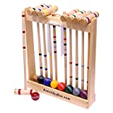 Amish-Crafted Deluxe 8-Player Croquet Game Set, Maple Hardwood (Eight 28' Handles)