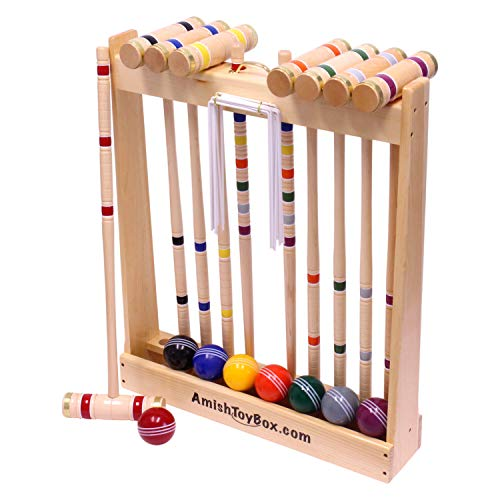 "Amish-Crafted Deluxe 8-Player Croquet Game Set, Maple Hardwood (Four 28"" Handles/Four 32"" Handles)"
