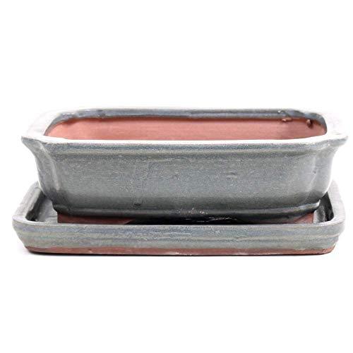Bonsai - Schale eckig 16 x 12,5 x 5 cm, grau, mit Untersetzer 23157