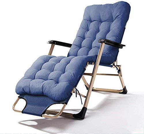 Tumbona Plegable Relax silla reclinable cubierta ajustable silla de múltiples ángulos con reposacabezas extraíble portátil Tumbona Jardín, Solarium algodón Disponible Mat(azul, tamaño, Silla + Mat)...