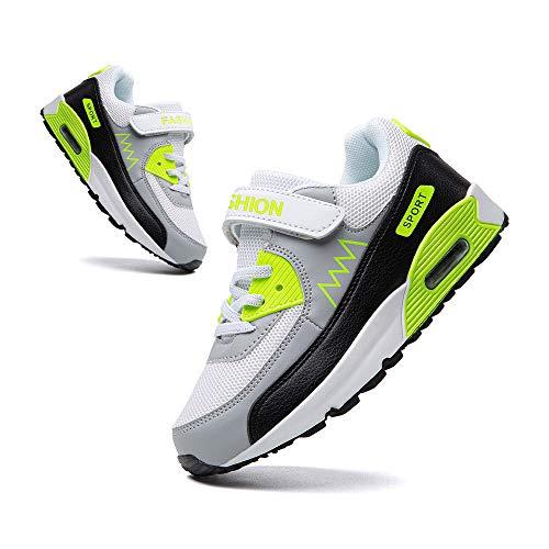 Scarpe Ginnastica Bambina Air Casual Scarpe Sportive Bambino Comodo all'aperto Scarpe Sportive Ragazze Traspiranti Run Shoes Verde Grigio Taglia 34