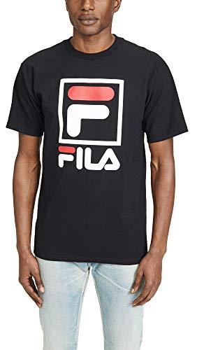 Fila Men's Stacked Tee Shirt, Black, Large